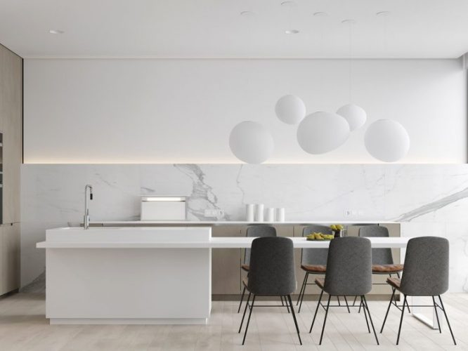 White contemporary kitchen with marble