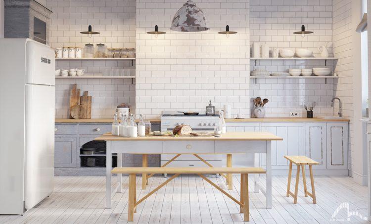 Modern white - grey brick kitchen