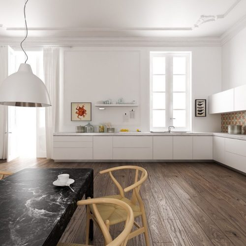 Modern white kitchen marble with counter rustic wood floors
