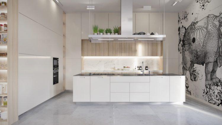 Modern white kitchen with marble floor