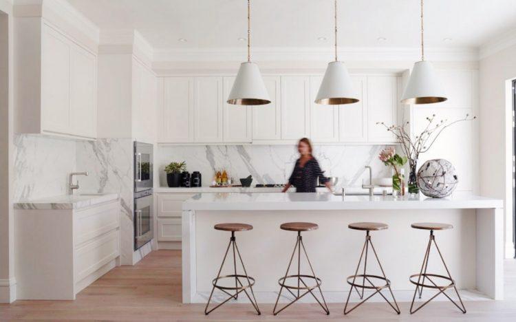 Modern white  kitchen marble island counter backsplash