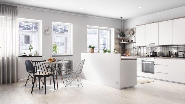 White kitchen with tile backsplash