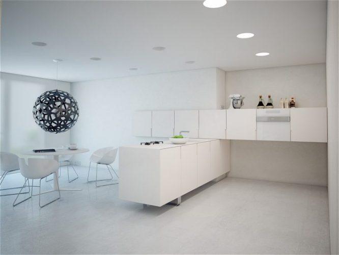White low cabinet kitchen