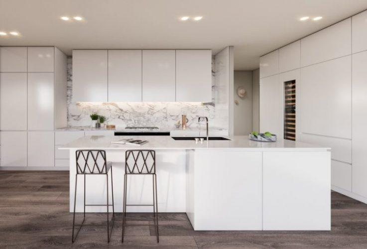 White marble kitchen with dark wood floor