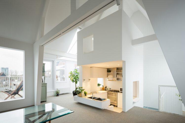 White step down kitchen