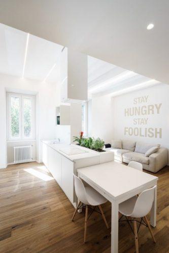 White studio apartment kitchen
