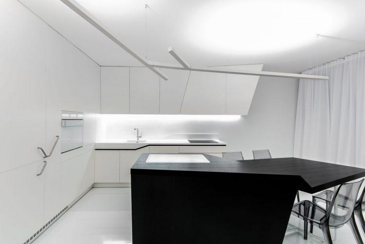 Black and white futuristic kitchen
