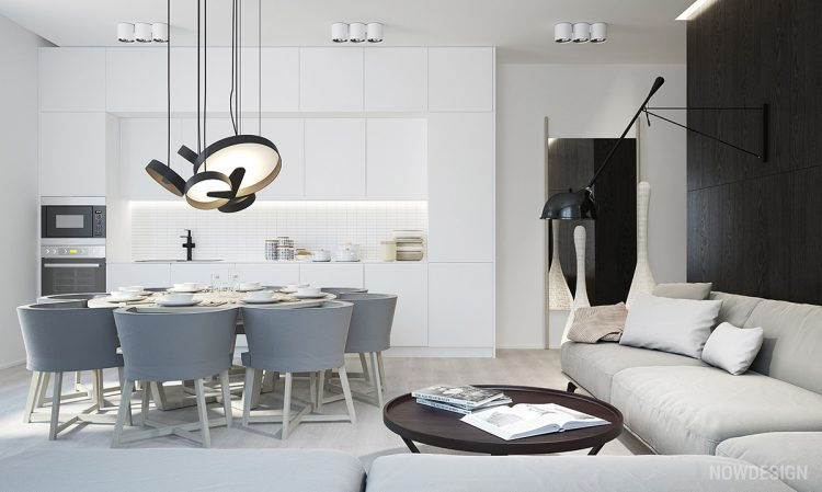 White and grey kitchen living area