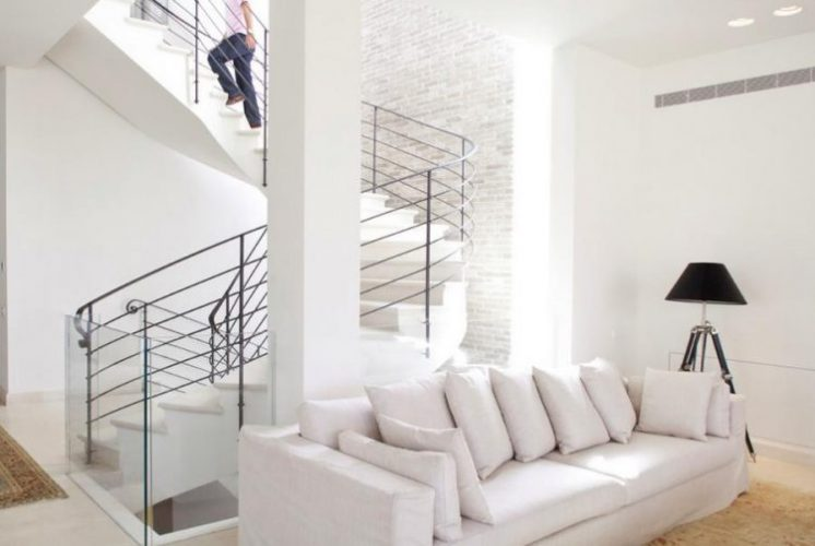 White brick wall in a modern-day stairwell
