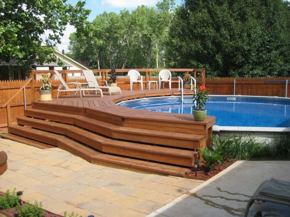10 amazing above ground pool ideas and design for Above ground pool decks images
