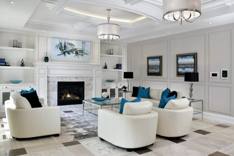 Black and white marble living room flooring ideas