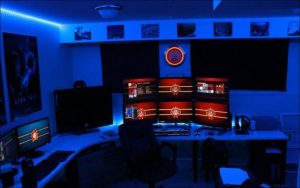 Blue accent gaming room ideas