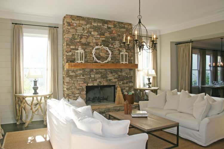 Diverse accessories living room with fireplaces