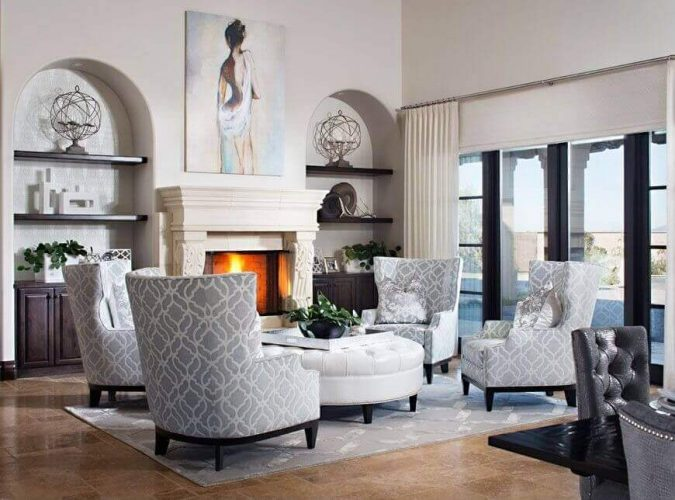A formal look living room with fireplaces