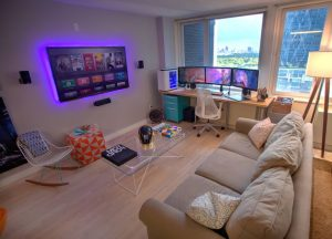 Gaming corner in living room