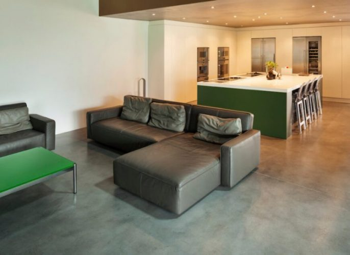 Modern living room with a concrete floor