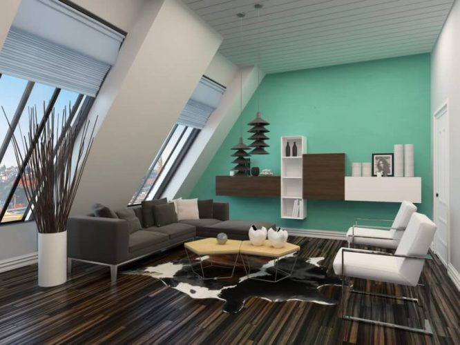 Modern living room with dark and rich wooden floor