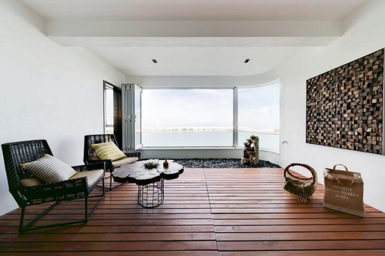 Living room with rustic wooden floor