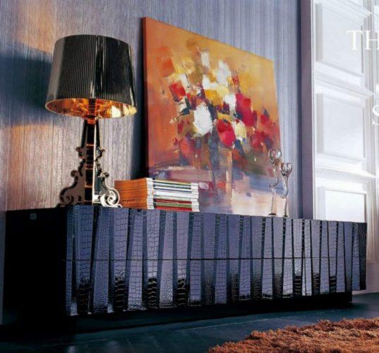 Armani black crocodile pattern TV stand ideas by VIG Furniture