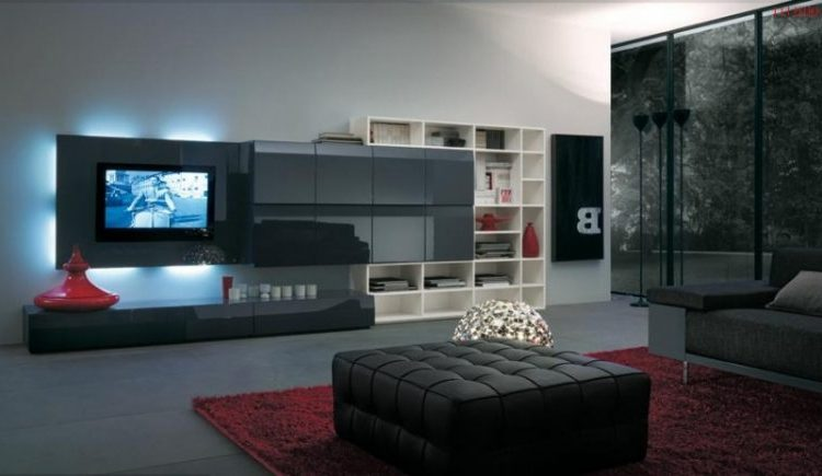 Black TV wall mount ideas with red carpet
