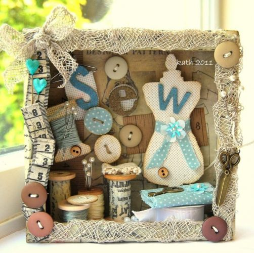 Buttons, spools, and sewing trinkets shadow box ideas