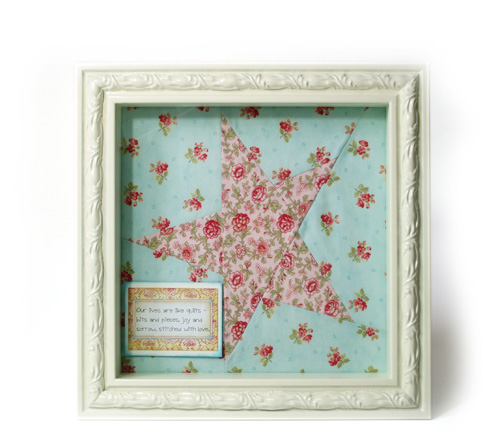 Fabric star and favourite quite shadow box ideas