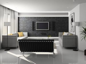 Floral pattern black wall for wall mount TV