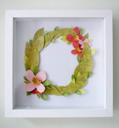 Floral wreath guestbook shadow box ideas