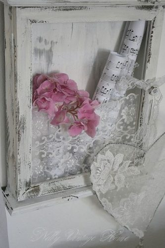 Flowers, sheet music, and lace shadow box ideas