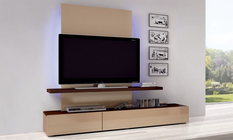 Home theater with tall mounted TV