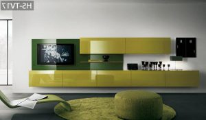 Lime and also green TV wall mount ideas