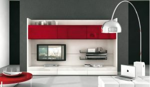 Red and white TV wall mount decor