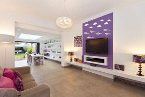 TV wall mount ideas with purple background