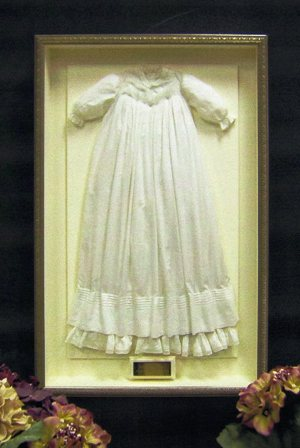 Vintage christening dress shadow box ideas