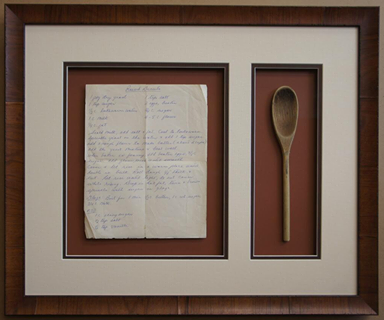 Vintage recipe and mixing spoon shadow box ideas