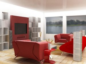 Wall mount TV design in a red scheme living room