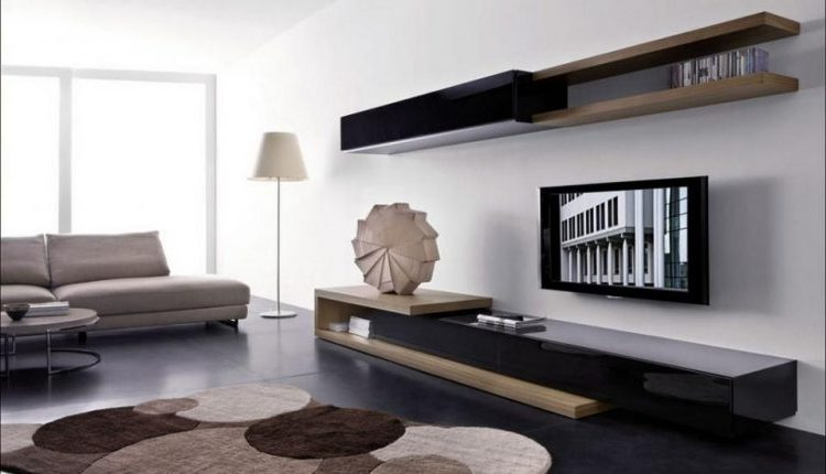 Wall Mount TV Design With Wood Clad Floating Shelf