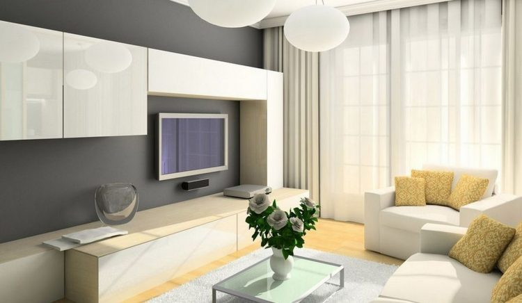 Lovely White TV Wall Mount Ideas With Base Cabinet