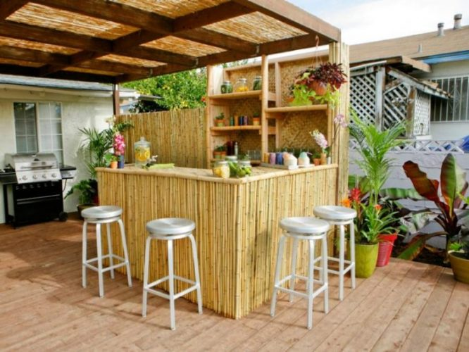 Pergola tiki outdoor bar ideas