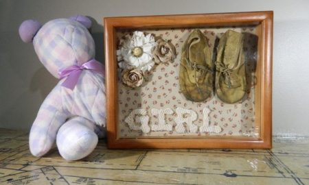 vintage baby shadow box ideas