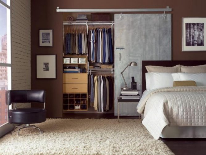 Industrial chic closet door ideas