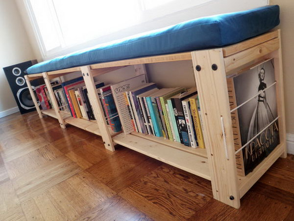 Convert a IKEA Gorm shelving unit into a stylish bench for books and DVDS storage
