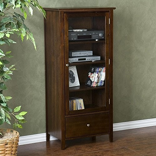 Southern enterprises fairmont espresso DVD storage ideas