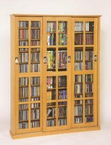 sliding door inlaid glass DVD storage ideas
