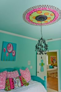 Tween Bedroom ideas in turquoise, black, hot pink and lime green
