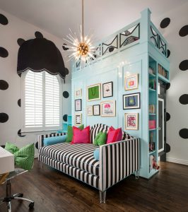 Tween bedroom ideas in pink, green and blue