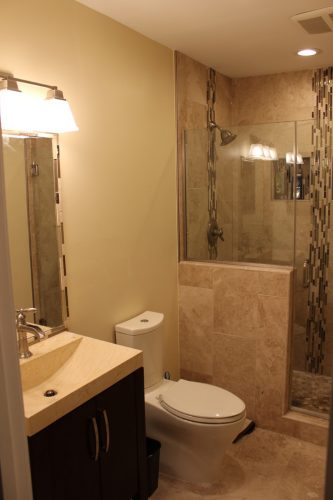 small bathroom remodel with marble tile