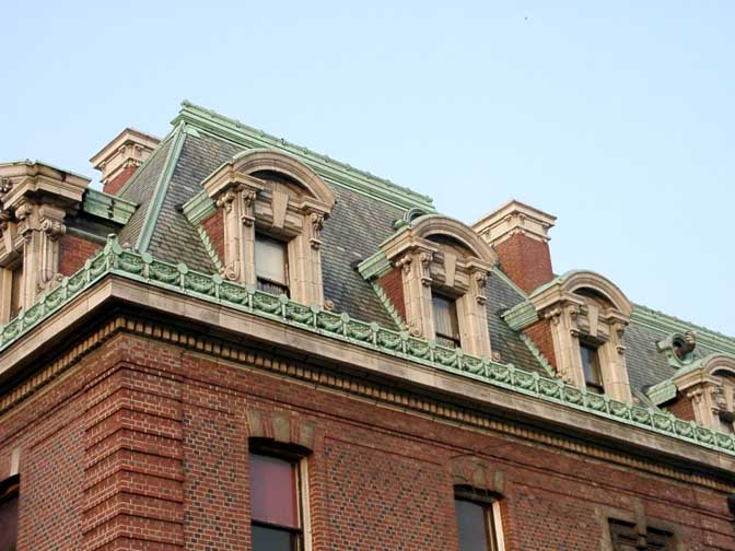 Slate mansard roof with straight sides