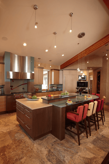 Multi Level Rounded Kitchen Island Ideas