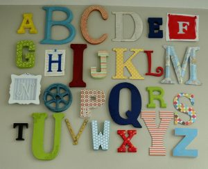 Alphabet wall art kids bedroom ideas 1